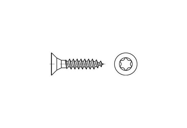 Spanplattenschrauben Senkkopf CE A2 5 x 25 -T25 Vollgewinde A2 (VPE=200 Stk)