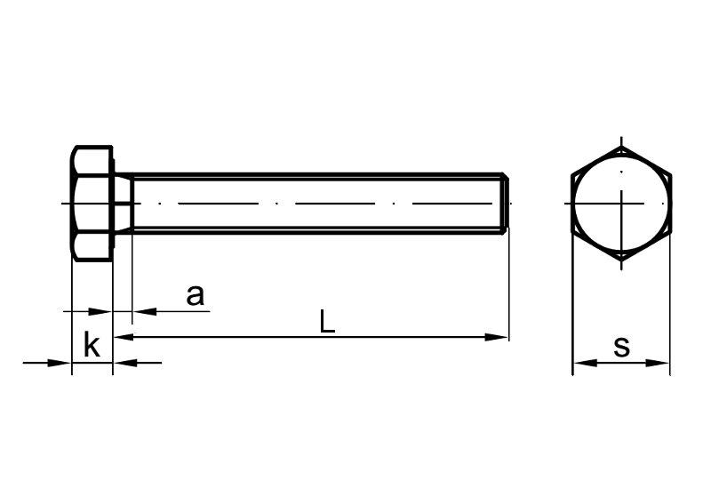 DIN 931 12.9 M16 x 90 5 Stk Sechskantschraube mit Schaft