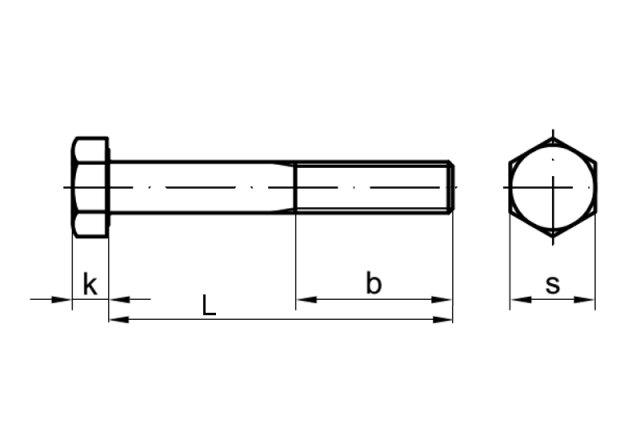 2 Stk Sechskantschraube mit Schaft DIN 931 10.9 M8 x 60