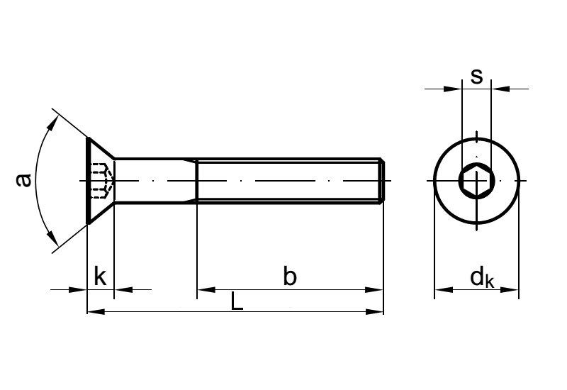 ISK 30 St/ück | Senkschrauben rostfrei DERING Senkkopfschrauben M3x16//16 mit Innensechskant DIN 7991 Edelstahl A2
