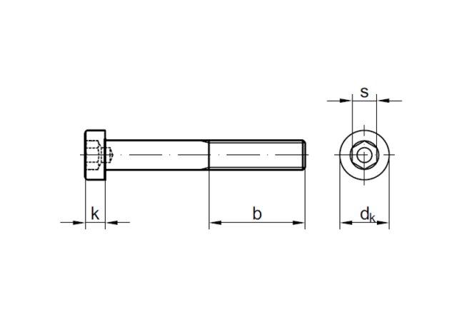 Zylinderschrauben mit Innensechskant DIN 912 8.8 Stahl galv verz M 5