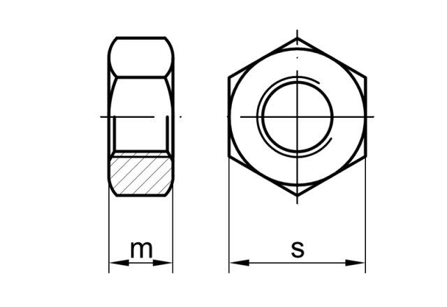 DIN934 M2,5 8 Sechskantmuttern Stahl Aussensechskant metrisch M110,