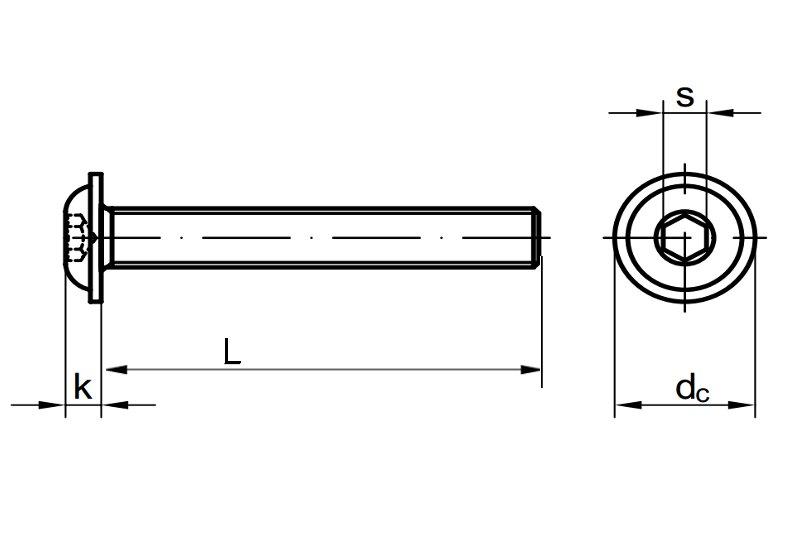 Linsenkopfschrauben M6 X 100 ISO 7380 mit Flansch u Innensechskant - V2A Linsenschrauben mit Bund Rundkopfschrauben Flachkopfschrauben Flanschschrauben Edelstahl A2 ISK 2 St/ück