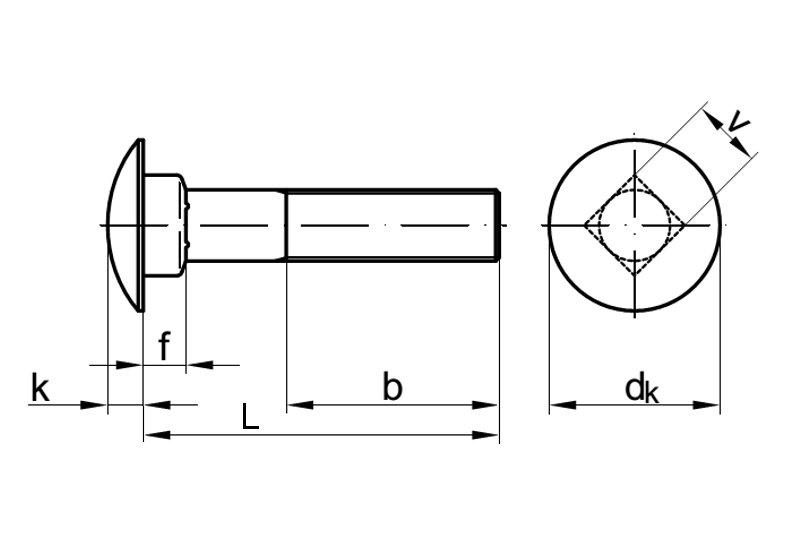 Vollgewinde - V2A Flachrundschrauben mit Vierkantansatz u Schlossschrauben M10 X 55 DIN 603 Edelstahl A2 10 St/ück