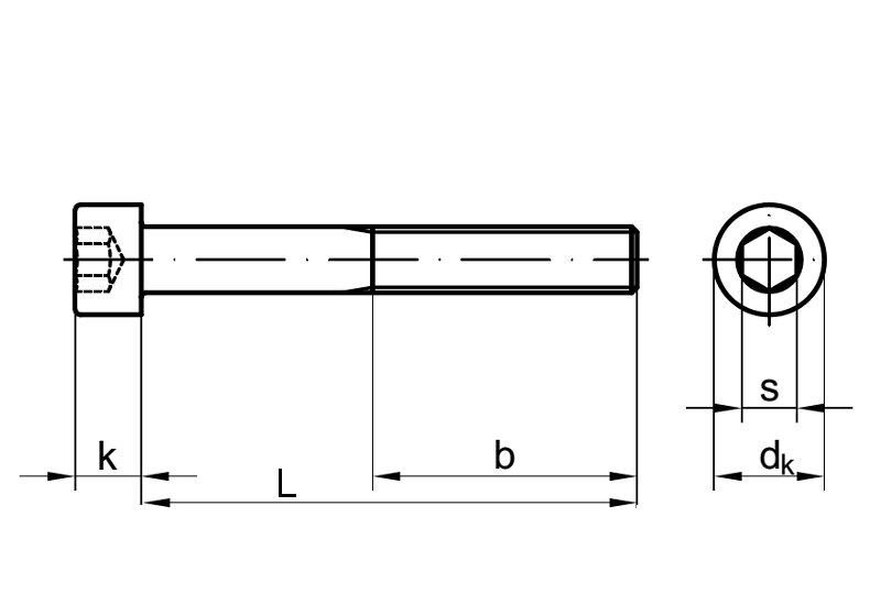 Innensechskant M12 x 170 5x DIN 912 Zylinderschraube 12.9 blank